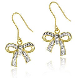 Db Designs Gold Over Silver Diamond Accent Bow Earrings