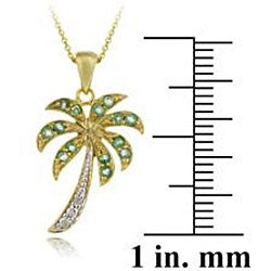 Glitzy Rocks 18k Gold over Silver Emerald and Diamond Palm Tree Necklace