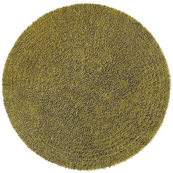 Hand-woven Moss Chenille Shag Rug (5' Round)