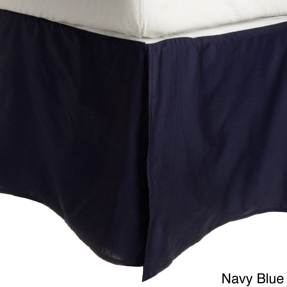 100/% Premium Long-Staple Combed Cotton 300 Thread Count  Pleated Queen Bed Skirt Solid Navy Blue