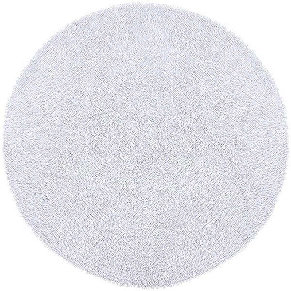 hand-woven white chenille shag rug (5' round) - free shipping