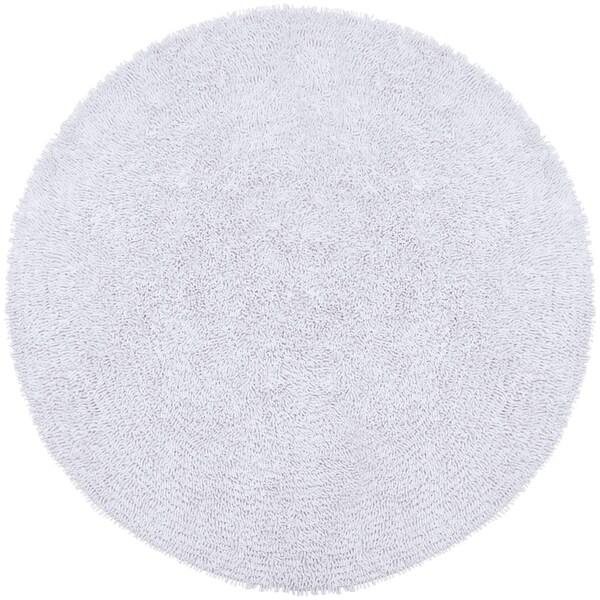 Hand-woven White Chenille Shag Rug (5' Round) - 5' x 5'