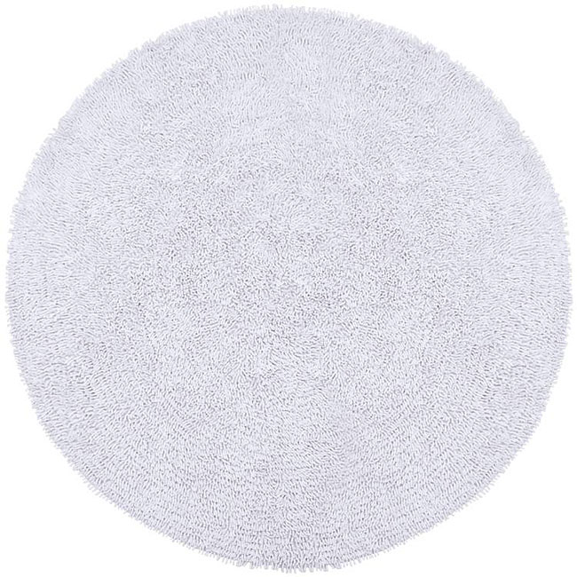 Hand Woven White Chenille Shag Rug 5 Round Free