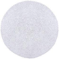 Hand-woven White Chenille Shag Rug (5' Round)