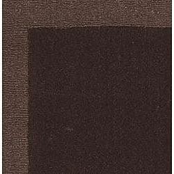 Hand-tufted Chocolate Border Wool Rug (2'5 x 8')
