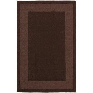 Hand-tufted Chocolate Border Wool Rug (4' x 6')
