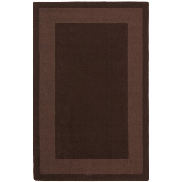 Hand-tufted Chocolate Border Wool Rug (5' x 8')