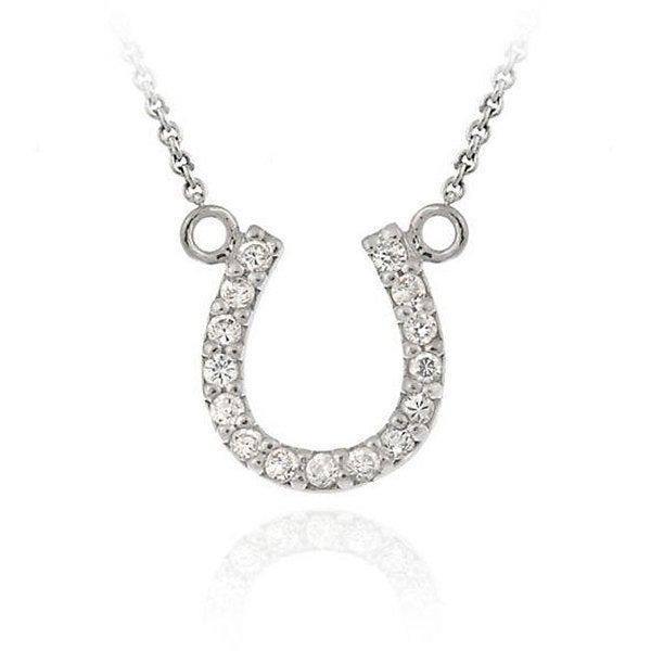 Icz Stonez Sterling Silver Cubic Zirconia Horseshoe Necklace. Opens flyout.