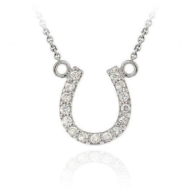 Icz Stonez Sterling Silver Cubic Zirconia Horseshoe Necklace