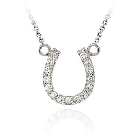 Icz Stonez Sterling Silver Cubic Zirconia Horseshoe Necklace