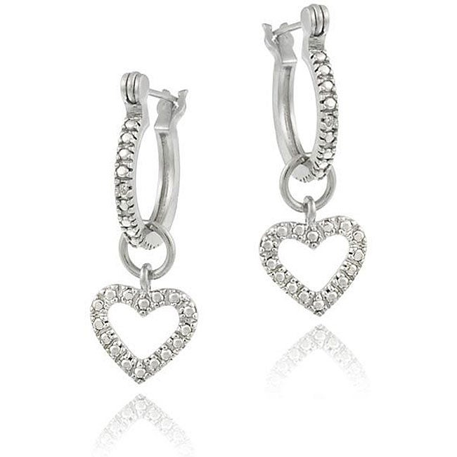 DB Designs Sterling Silver Diamond Accent Open Heart Dangle Hoop Earrings