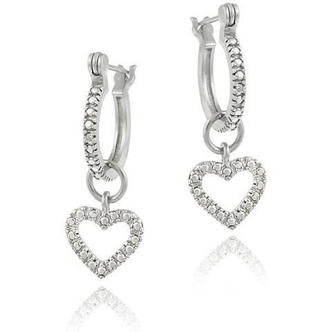 DB Designs Sterling Silver Diamond Accent Open Heart Dangle Hoop Earrings