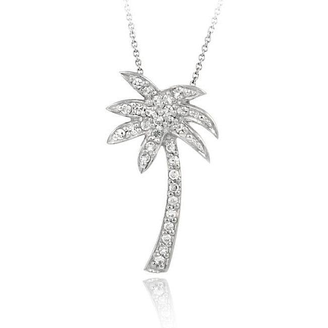Icz Stonez Sterling Silver Cubic Zirconia Palm Tree