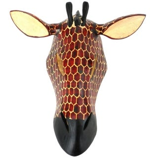 Hand-carved Wood African Giraffe Mask , Handmade in Kenya