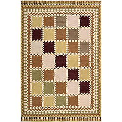 Nourison Hand-woven Dakota Multicolor Wool Rug (5'5 x 7'4) - Thumbnail 0