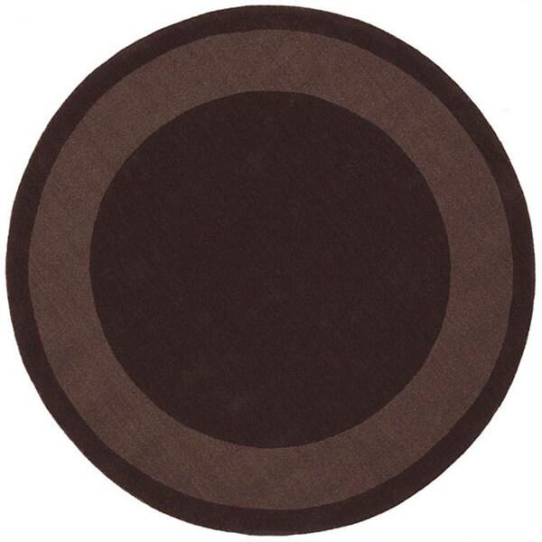 Handmade Chocolate Border Rug (6' Round)