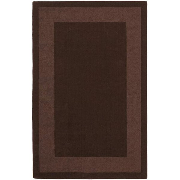 Handmade Chocolate Border Rug (8' x 10) - 8' x 10'