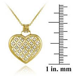 DB Designs 18k Goldplated Sterling Silver Champaign Diamond Heart Necklace - Thumbnail 2