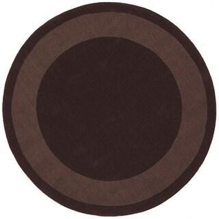 Handmade Chocolate Border Rug (8' Round)