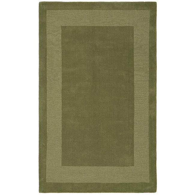 Olive Green 8x10 Area Rug: Handmade Moss Green Border Rug (8' X 10')