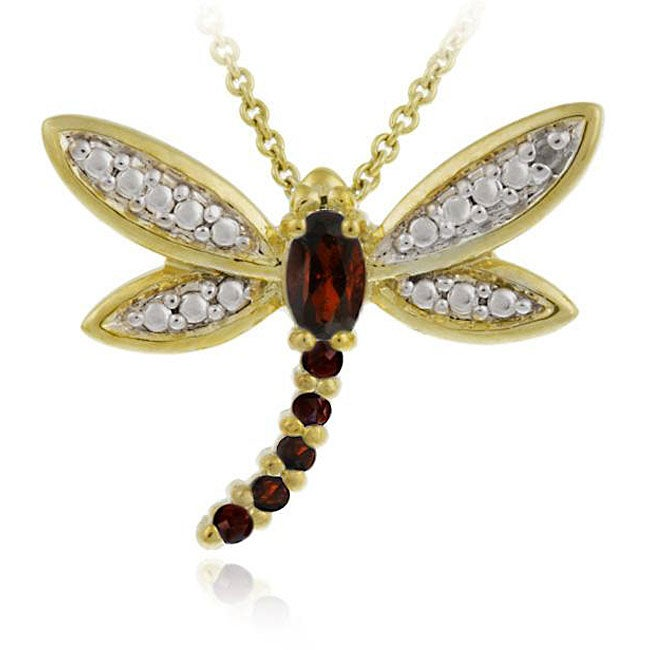 Glitzy Rocks 18k Goldplated Silver Garnet/ Sapphire/ Diamond Dragonfly Necklace - Thumbnail 0