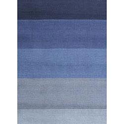 Hand-tufted Blue Stripes Runner (2'6 x 12') - Thumbnail 1