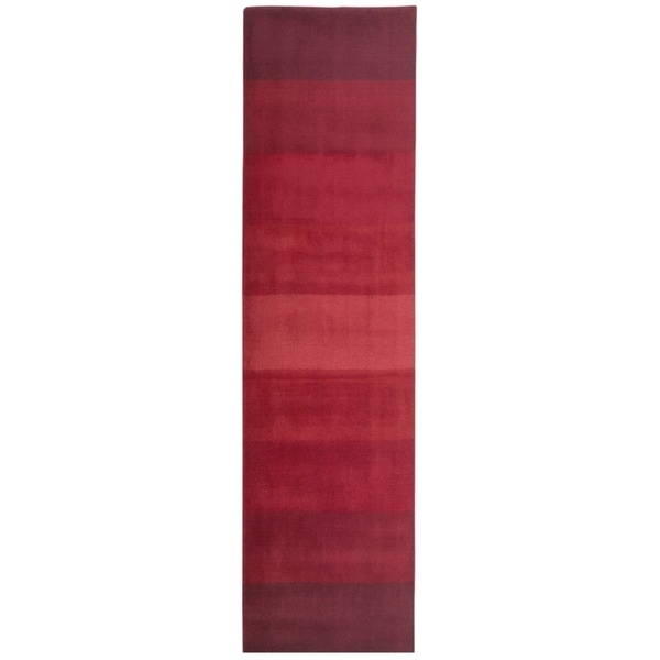 Hand-tufted Red Stripes Wool Runner Rug (2'5 x 8') - 2'6 x 8'