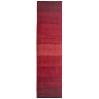 """Hand-tufted Red Stripes Wool Runner Rug (2'6 x 12') - 2'6"""" x 12'"""