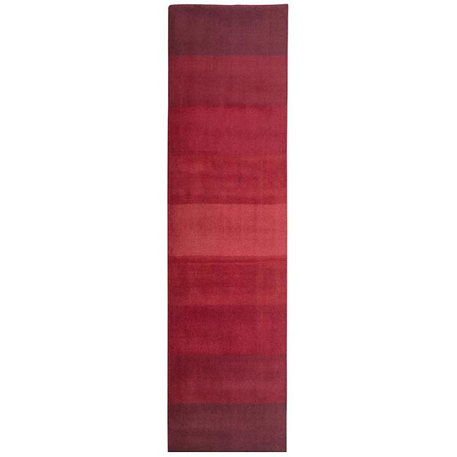 Hand-tufted Red Stripes Wool Runner Rug (2'6 x 12')