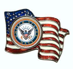 American Coin Treasures Colorized Navy Quarter Flag Pin - Thumbnail 1