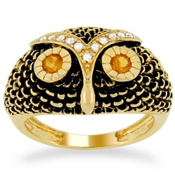 Meredith Leigh Silver Citrine and 1/8ct TDW Diamond Critters Ring (H, I1-I2)