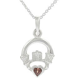 Journee Collection Sterling Silver Garnet Claddagh Necklace