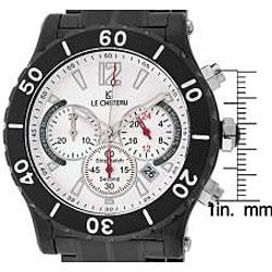Le Chateau Dinamica Black Ion-plated White Dial Chrono Watch - Thumbnail 1