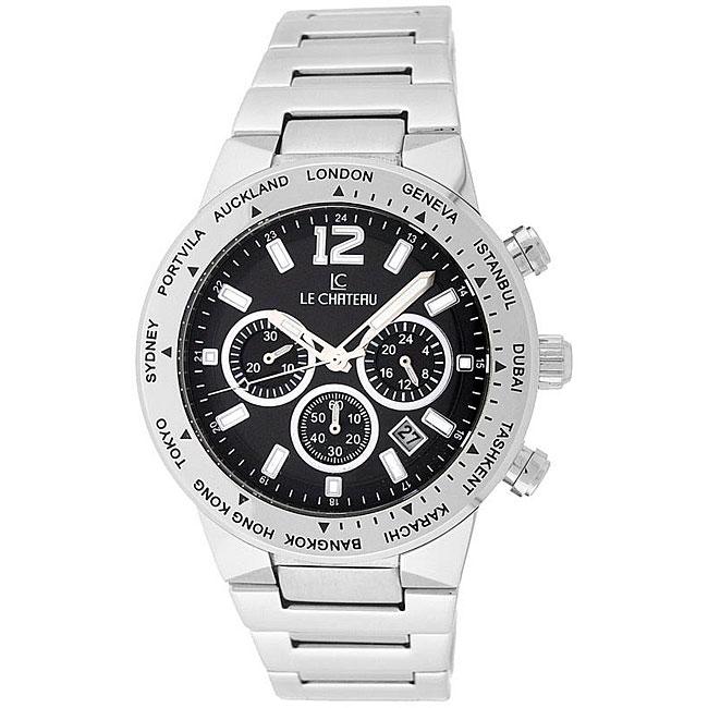 Le Chateau Cautiva Men's Black-Dial All-Steel Chronograph Watch