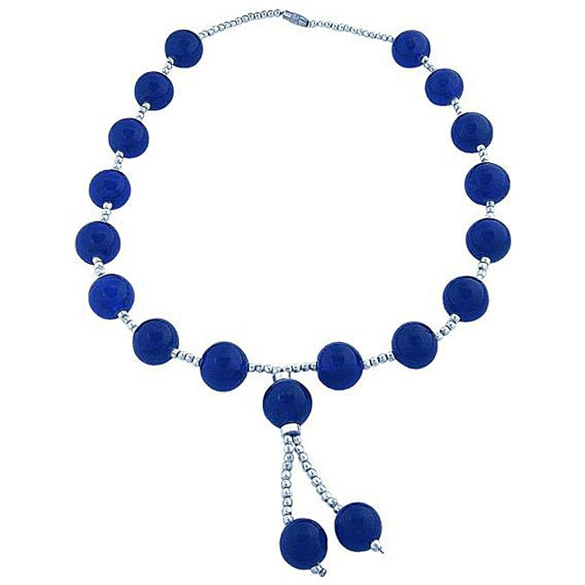 Handmade Silver and Blue Cerulean Glass 21-inch Necklace (Thailand)