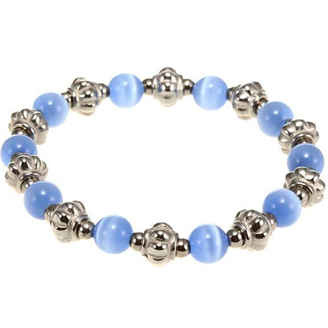 Silvertone Blue/White Fusion Glass Bracelet (Thailand)