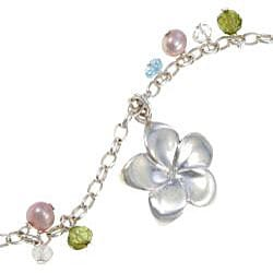 Sterling Silver Pearl Flower Charm Necklace (Thailand) - Thumbnail 1