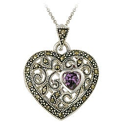 Glitzy Rocks Sterling Silver Amethyst and Marcasite Heart Locket Necklace