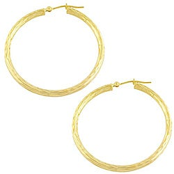 Fremada 14k Yellow Gold Diamond-cut Round Hoop Earrings