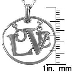 Fremada Sterling Silver Floating 'Love' Necklace