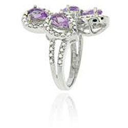 Glitzy Rocks Sterling Silver Amethyst and Diamond Accent Ring - Thumbnail 1