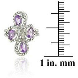 Glitzy Rocks Sterling Silver Amethyst and Diamond Accent Ring - Thumbnail 2