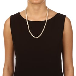 DaVonna 14k Gold White FW Cultured Pearl Necklace (6.5-7 mm/ 24 in) - Thumbnail 2