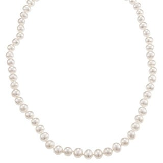 """DaVonna 14k Gold 6-7mm White Freshwater Cultured Pearl Necklace, 24"""""""