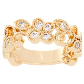 NEXTE Jewelry 14k Gold Overlay Cubic Zirconia Laureled Ring