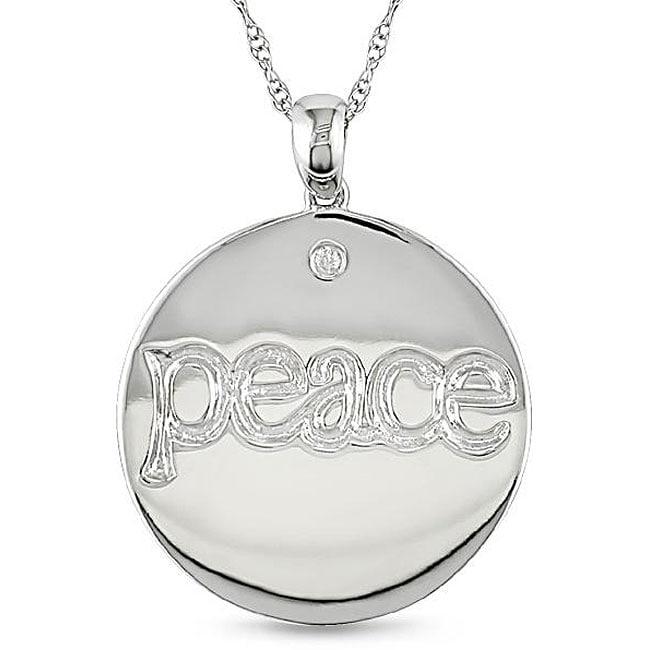 Miadora 10k White Gold Diamond 'Peace' Circle Necklace