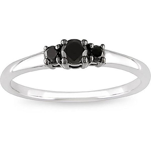 M by Miadora 10k White Gold 1/4ct TDW Black Diamond Three Stone Ring
