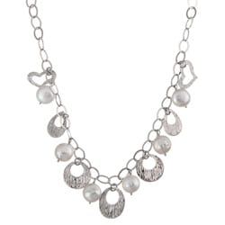 Kabella Sterling Silver Freshwater Pearl Medallion Necklace (10-11 mm)