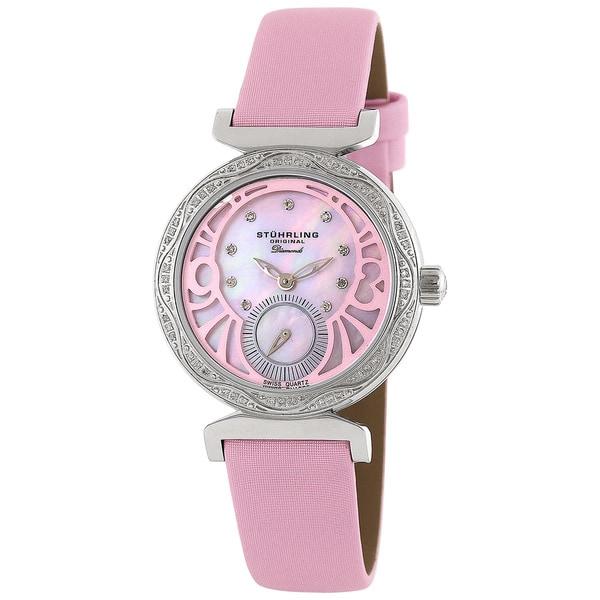 Stuhrling Original Women's 'Soiree' Diamond Pink Strap Watch