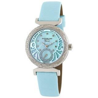 Stuhrling Original Women's 'Soiree' Diamond Blue Strap Watch